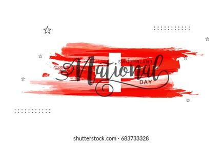 Illustration of Switzerland National Day Poster Or Banner Background.