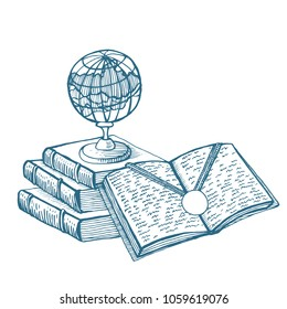 Illustration. A symbol of good learning. The globe is on books. Open book with a text and a gold medal. Hand drawing vector illustration.