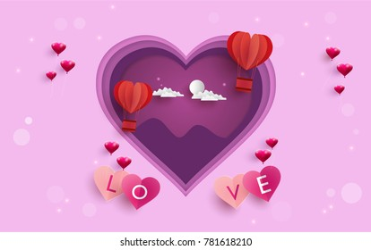 illustration symbol of love with the design of paper art and craft. beautiful hot air balloons as a symbol of love. happy valentine's day