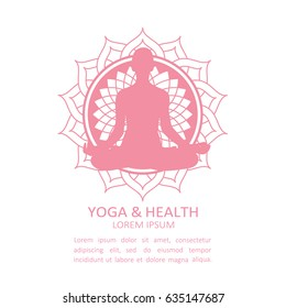 Illustration with symbol of yoga studio and text. Yoga and health, poster design. Yogi girl and lotus flower vector. The emblem of yoga class. Sign of relaxation and relax. Decorative emblem, logotype