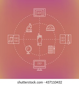 Illustration of symbols school objects and college items. Education and learning concept made in line style vector. Illustration for poster and header, banner, icons and other flat design web elements