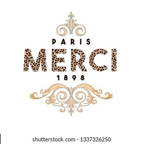Illustration for t shirt print and design. French words and decorative elements. Rich and vintage.
