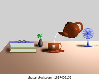 an illustration of a table with cuppa, books, kettle, fan and flower on it