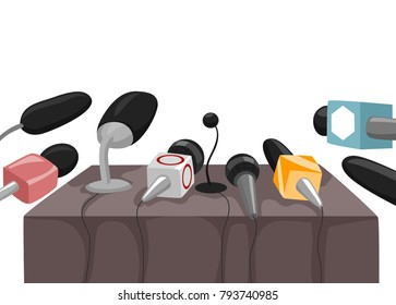 Illustration of a Table with Different Microphones from Journalists for Interview