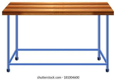 Illustration of a table in a lab on a white background