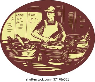 Illustration of a Taco chef cook wearing hat and apron holding meat cleaver knife in market food stall with pots set inside oval shape done in retro style.