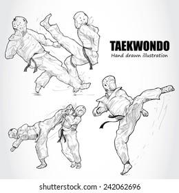 illustration of Taekwondo. Hand drawn.