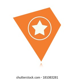 the illustration of tag  with star pictogram / The geometric tag with star / the rating icon