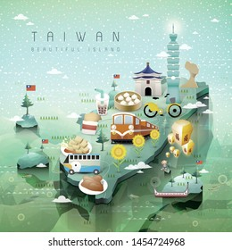 Illustration of Taiwan travel with map and landmarks