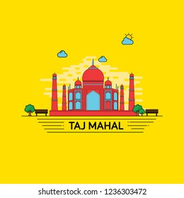 Illustration of Taj Mahal an ancient monument of India