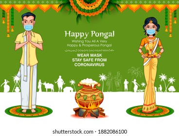 illustration of Tamilian couple wearing mask for protection against Covid 19 corona virus on Happy Pongal Holiday Harvest Festival of Tamil Nadu South India greeting background