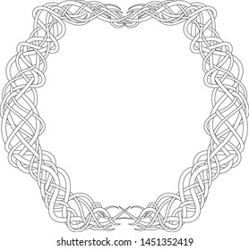 Illustration of a tangled frame for antistress coloring book for adults. Outline black and white drawing for fun colouring. Vector zentangle illustration