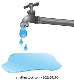 illustration of a tap dripping a puddle on the floor, vector illustration