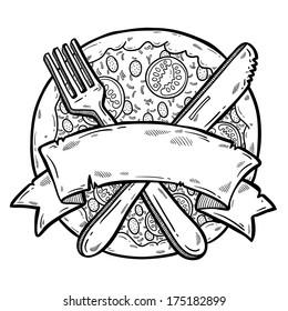 Illustration of tasty pizza. Design template. Pizza box design. Vintage label. Black and white line illustration.
