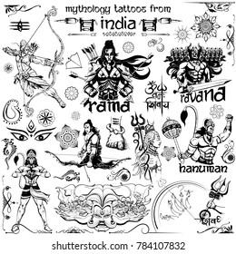illustration of Tattoo art design of Lord Rama, Ravana and Hanuman collection with text in Hindi Namah Shivaya ( I bow to Shiva )