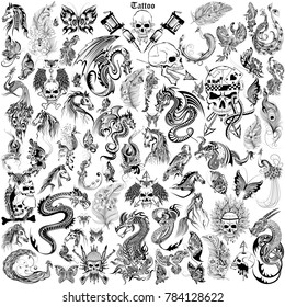 illustration of Tattoo art design of Skull, Horse, Dragon and Flora collection