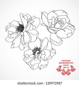illustration tattoo black and white roses, vector