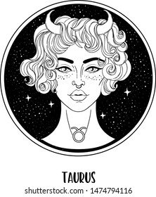 Illustration of Taurus astrological sign as a beautiful girl. Zodiac vector drawing isolated in black and white. Future telling, horoscope, alchemy, spirituality. Coloring book for adults.