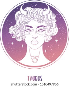 Illustration of Taurus astrological sign as a beautiful girl. Zodiac vector illustration isolated on white. Future telling, horoscope, alchemy, spirituality, occultism, fashion woman.