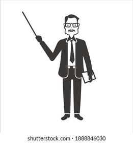 illustration of teacher, teacher icon, vector art.