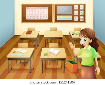 Illustration of a teacher inside the classroom
