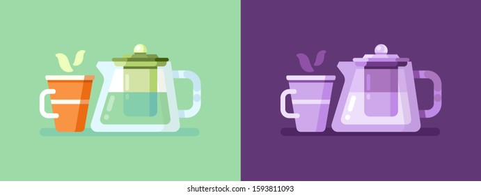 Illustration of teapot and mug day and night
