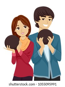 Illustration of a Teen Boy and Girl Holding Bowling Balls