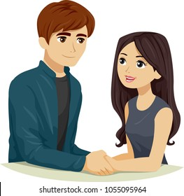 Illustration of a Teen Girl and Boy Holding Hands and Talking About their Plans for the Future