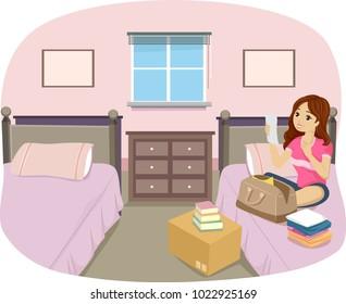 Illustration of a Teen Girl Going Over her Packing List in Her Dorm Room