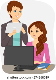Illustration of a Teen Girl on her Computer with her Teacher