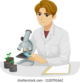 Illustration of a Teen Guy Botanist Looking at a Plant Specimen Under a Microscope