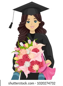 Illustration of a Teen Student Receiving Bouquet of Flowers on Her Graduation Day