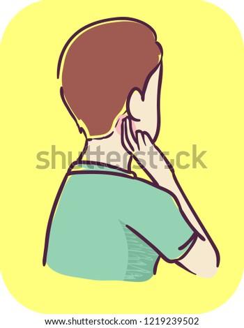 illustration teenage boy pain behind under stock vector royalty