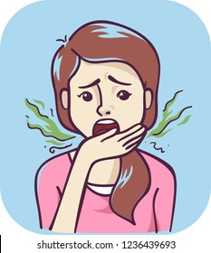 Illustration of a Teenage Girl Breathing to Her Hand to Check and Smell Her Bad Breath