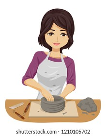 Illustration of a Teenage Girl in a Ceramic Workshop Holding Clay with Loop Trim Tools and Wood Rib
