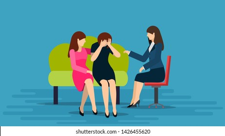 Illustration of a Teenage Girl Comforting Her Crying Friend on Soffa and talking to a psychologist. Woman trying to comfort her friend who is crying.