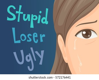 Illustration of a Teenage Girl Crying After Being Bullied and Called Nasty Names