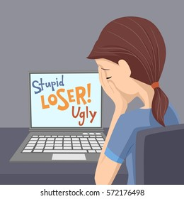 Illustration of a Teenage Girl Crying After Being Bullied and Called Nasty Names Over the Internet