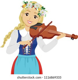Illustration of a Teenage Girl with Floral Head Wreath Playing Fiddle During Midsummer Festival