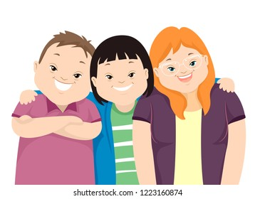 Illustration of Teenage Girl and Guy Friends with Down Syndrome