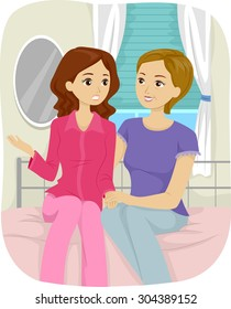 Illustration of a Teenage Girl Having a Talk with Her Mother
