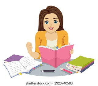 Illustration of a Teenage Girl Holding a Fighting Pose and Reading Several Books and Studying