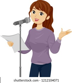 Illustration of a Teenage Girl Holding Paper and Standing In Front of a Microphone for Poetry Reading