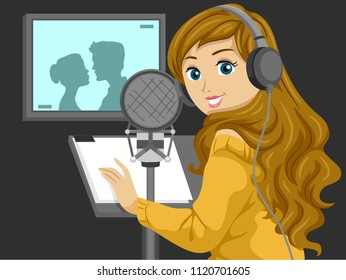 Illustration of a Teenage Girl inside a Studio as a Voice Actor