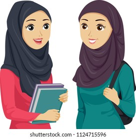 Illustration of Teenage Girl Muslim Student Holding a Bag and Books