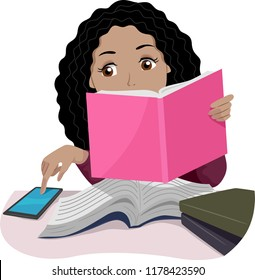 Illustration of a Teenage Girl Reading a Book and Studying But Being Distracted by Her Mobile Phone