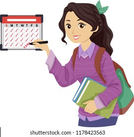 Illustration of a Teenage Girl Student Marking Her Calendar with Exam Schedule