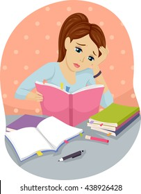 Illustration of a Teenage Girl Studying Hard