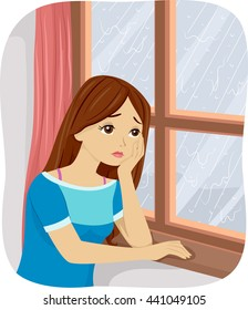 Illustration of a Teenage Girl Suffering from Seasonal Affective Disorder
