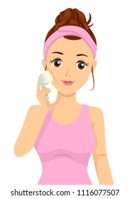 Illustration of a Teenage Girl Using Facial Massager Cleaning Her Face